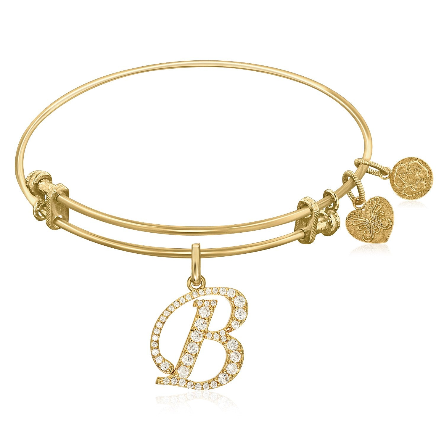 qExpandable Yellow Tone Brass Bangle with B Symbol with Cubic Zirconia