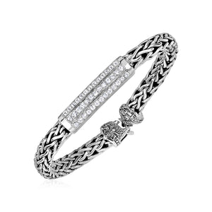 Wide Woven Rope Bracelet with White Sapphire Accents in Sterling Silver