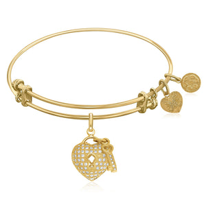 Expandable Yellow Tone Brass Bangle with Heart and Key with Cubic Zirconia