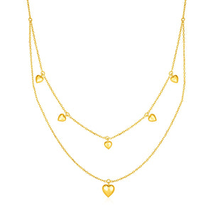 14k Yellow Gold Two Strand Necklace with Puffed Heart Drops