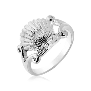 Sterling Silver Textured Seashell Ring