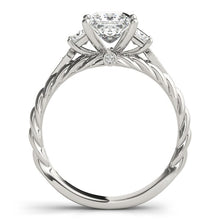 Load image into Gallery viewer, 14k White Gold Princess Cut 3 Stone Antique Style Diamond Ring (1 1/8 cttw)