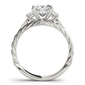 14k White Gold Princess Cut 3 Stone Antique Style Diamond Ring (1 1/8 cttw)