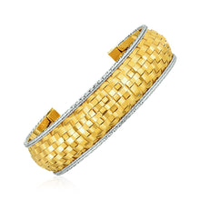 Load image into Gallery viewer, Cuff Bangle with Basket Weave Texture in 14k Yellow and White Gold