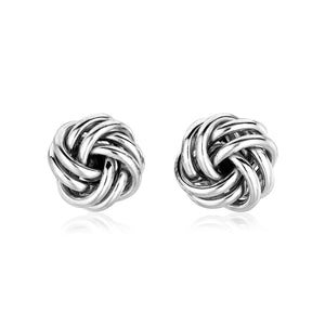 Sterling Silver Petite Two Strand Love Knot Earrings