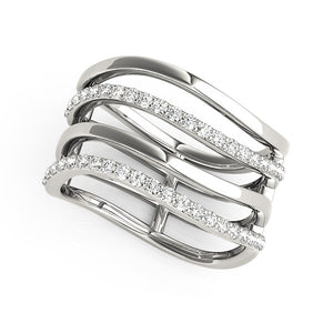 14k White Gold Multiple Band Design Ring with Diamonds (3/8 cttw)