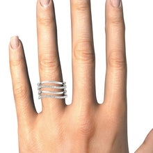 Load image into Gallery viewer, 14k White Gold Multiple Band Design Ring with Diamonds (3/8 cttw)