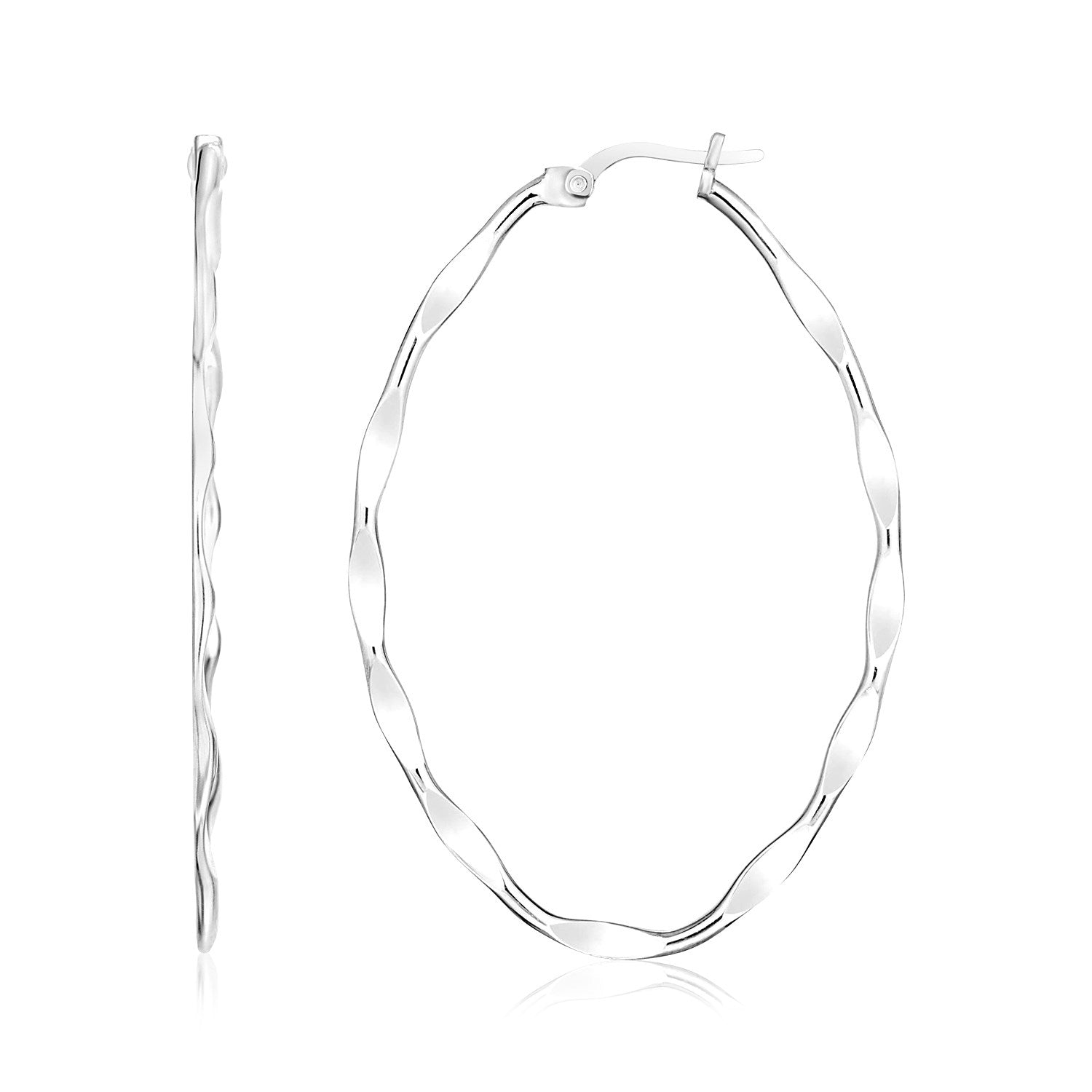 Sterling Silver Wavy Effect Oval Hoop Earrings