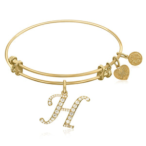 Expandable Yellow Tone Brass Bangle with H Symbol with Cubic Zirconia
