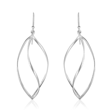 Sterling Silver Open Leaf Motif Earrings with Sparkle Texture