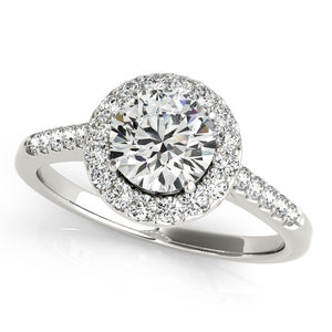14k White Gold Halo Diamond Engagement Ring (1 3/8 cttw)