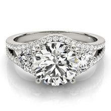 Load image into Gallery viewer, 14k White Gold 3 Stone Split Pave Shank Diamond Engagement Ring (2 3/4 cttw)