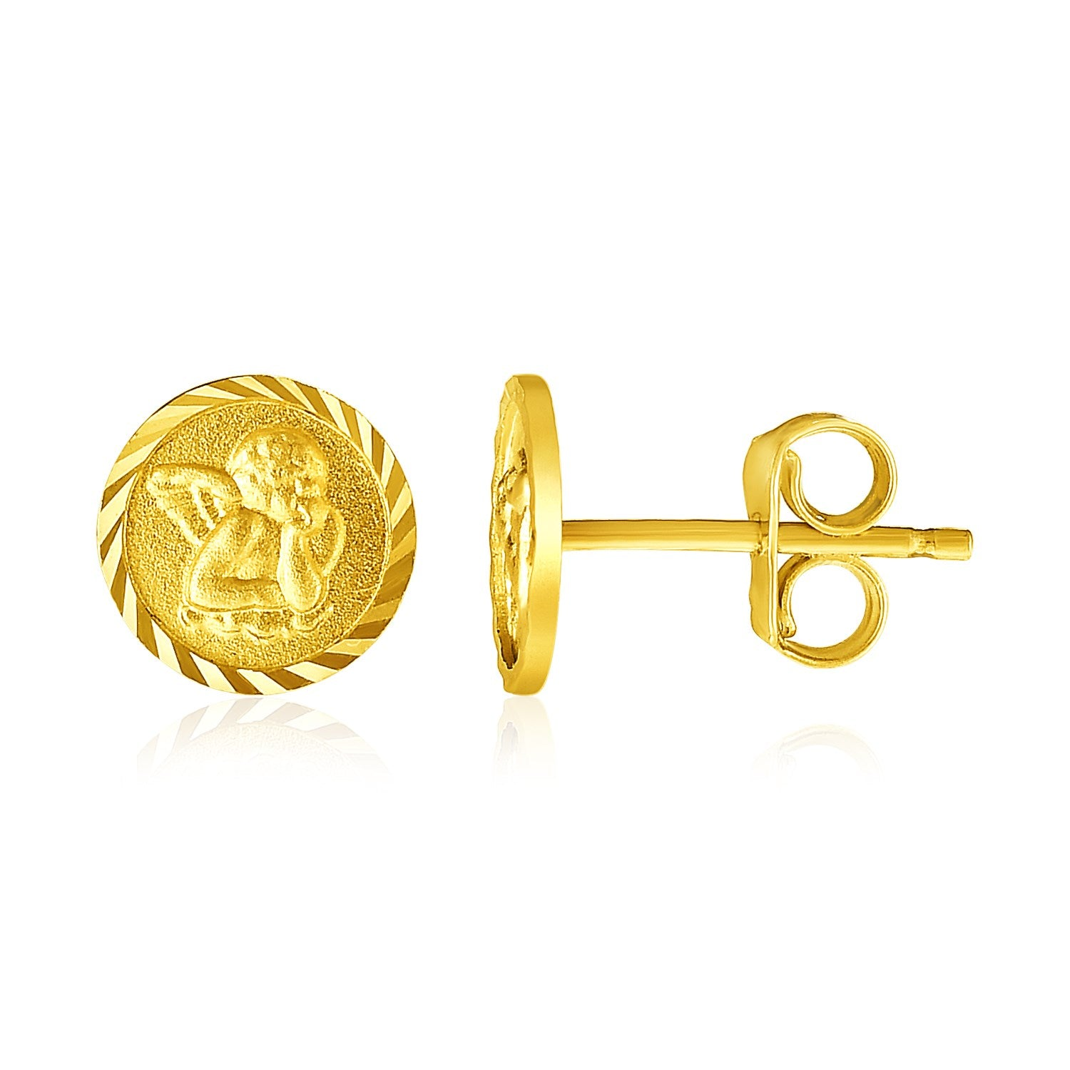 14k Yellow Gold Round Angel Post Earrings