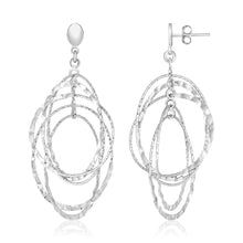 Load image into Gallery viewer, Sterling Silver Textured Oval Dangle Earrings