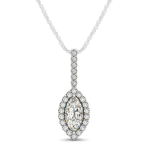 Marquis Shape Diamond Halo Pendant in 14k White Gold (2/3 cttw)
