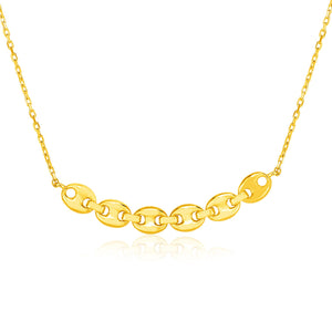 14k Yellow Gold 18 inch Necklace with Curve of Mariner Chain