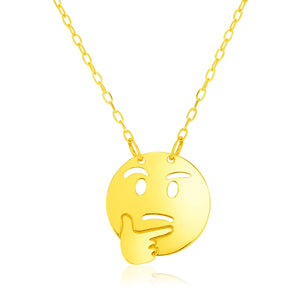 14k Yellow Gold Necklace with Thinking Emoji Symbol