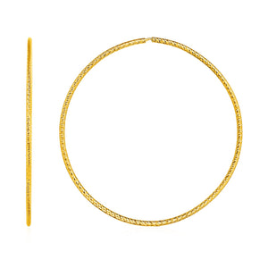 Large Textured Endless Hoop Earrings in 14k Yellow Gold