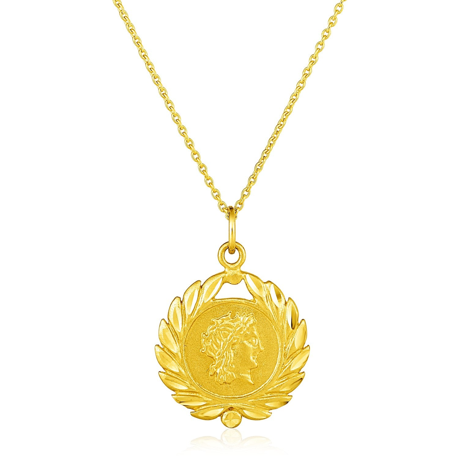 14k Yellow Gold with Roman Coin Pendant