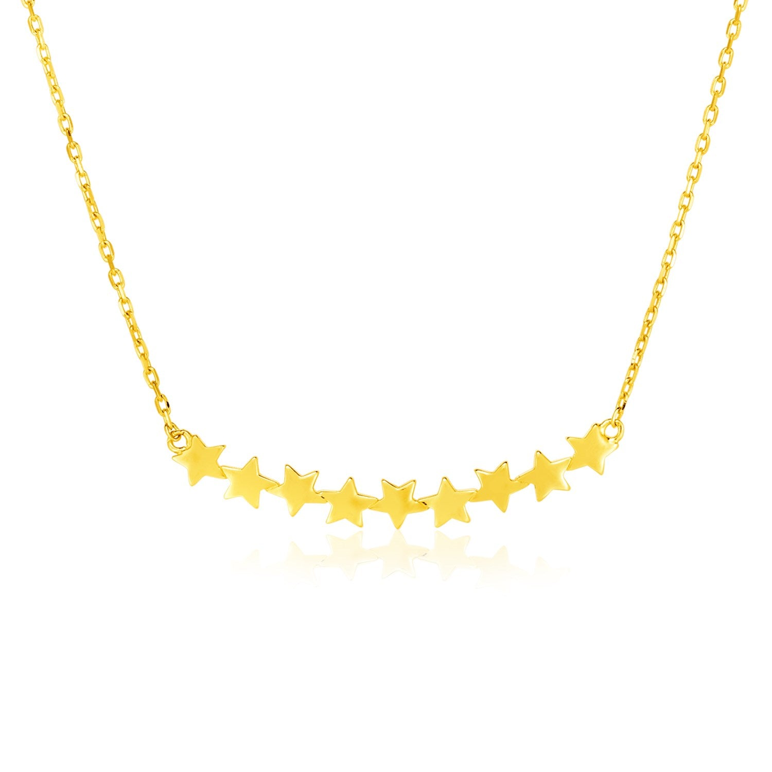 14k Yellow Gold 18 inch Necklace with Curve of Stars