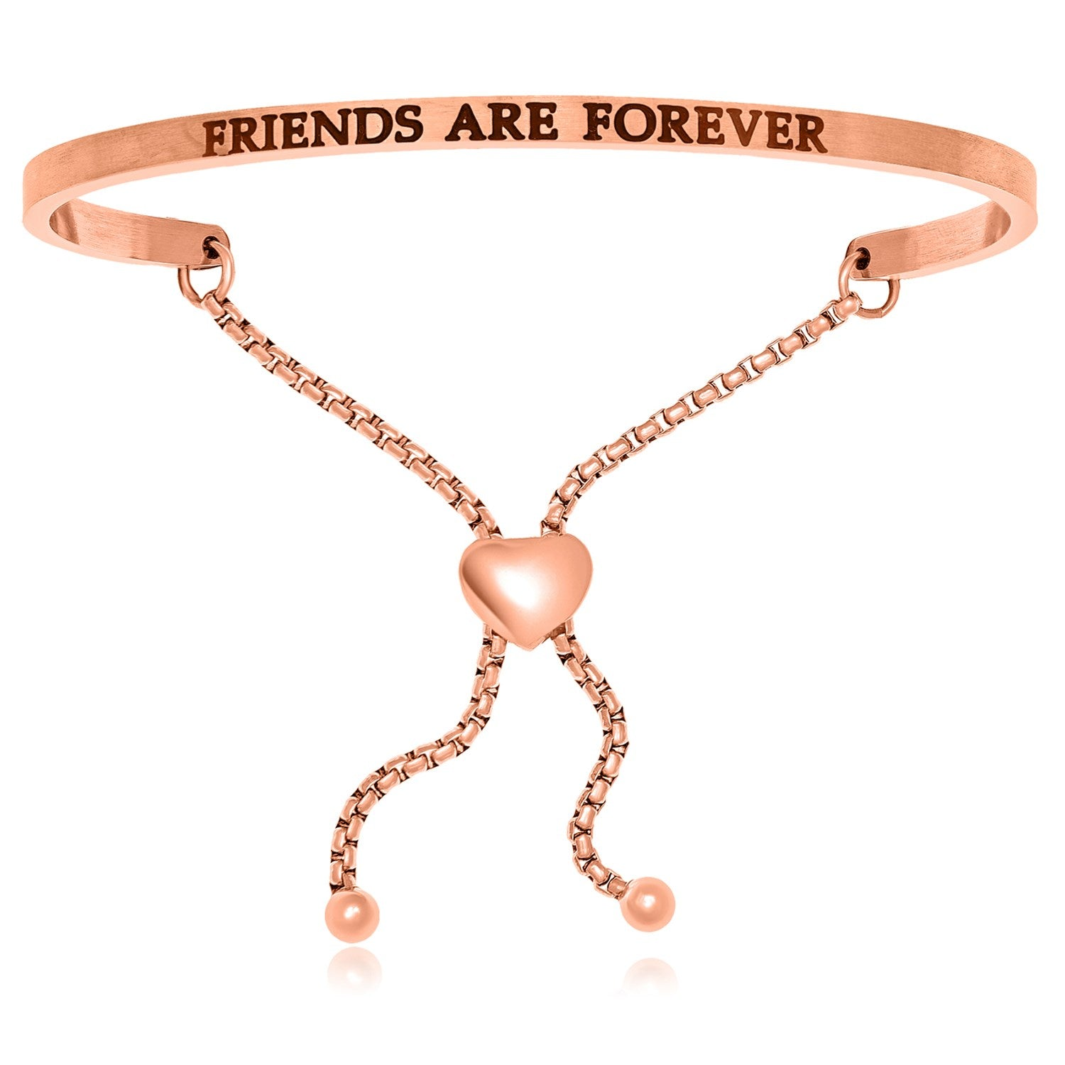Pink Stainless Steel Friends Are Forever Adjustable Bracelet