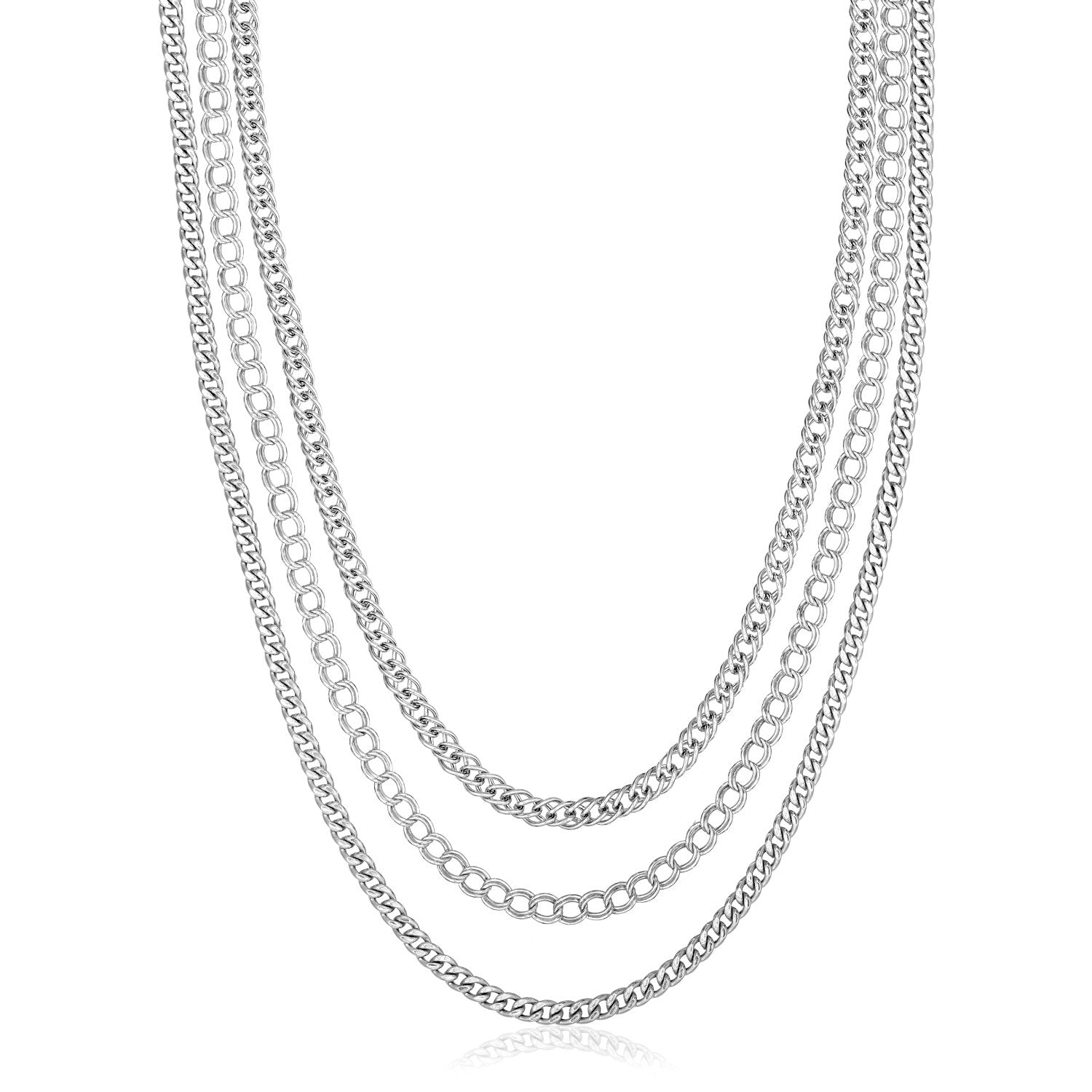Sterling Silver 18 inch Three Strand Multiple Link Necklace