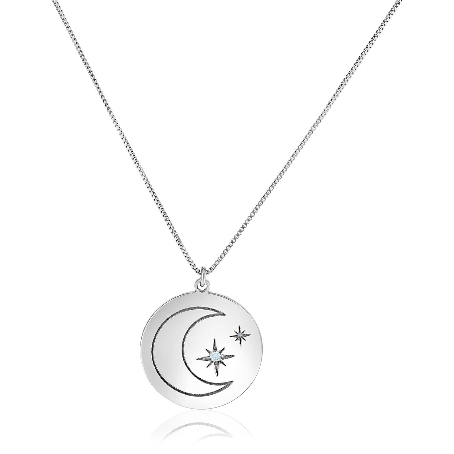 Sterling Silver 18 inch Necklace with Engraved Moon and Stars and Diamonds