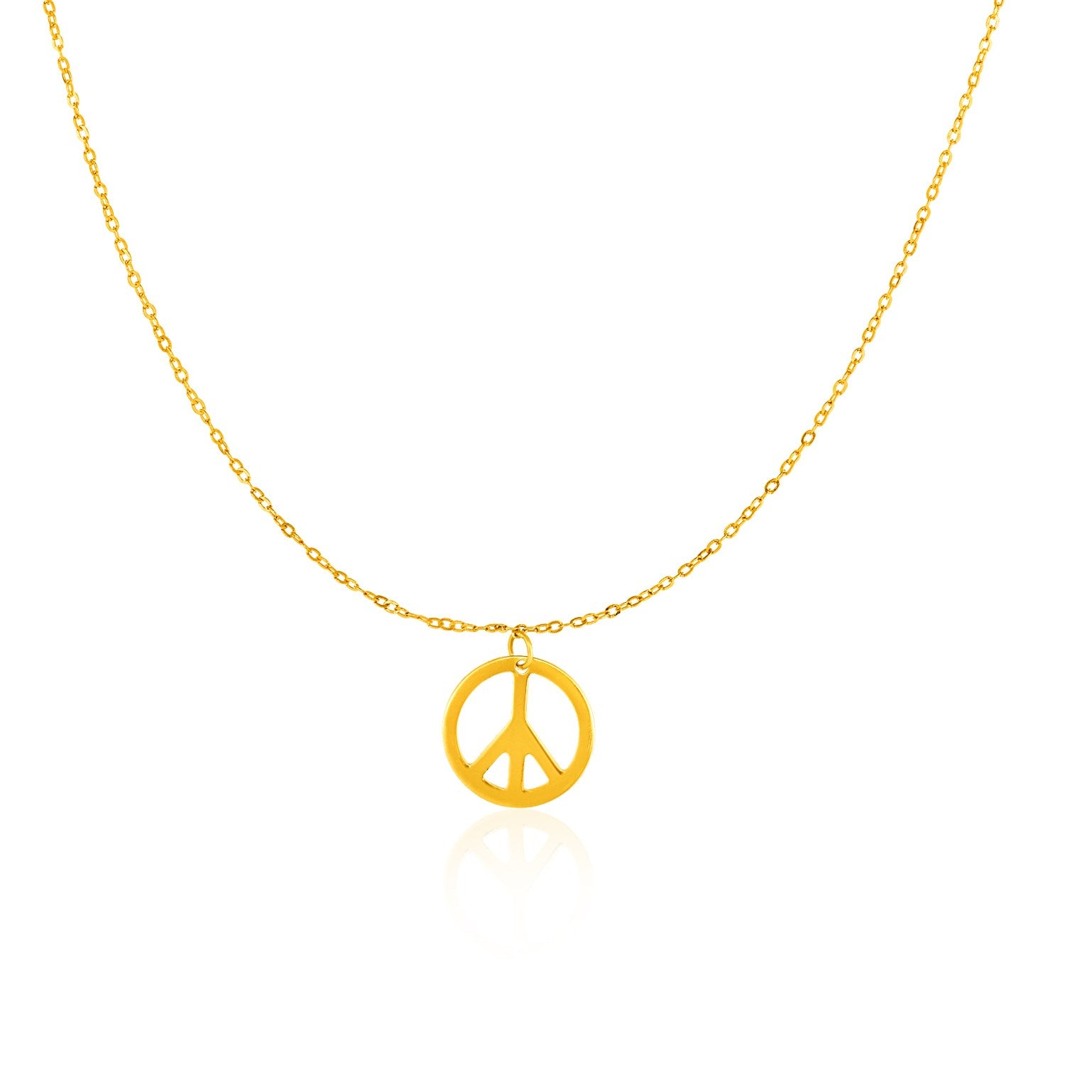14k Yellow Gold with Peace Symbol Pendant