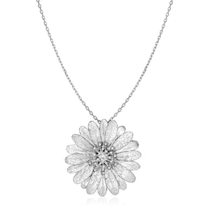 Sterling Silver Flower Pendant with Sparkle Texture