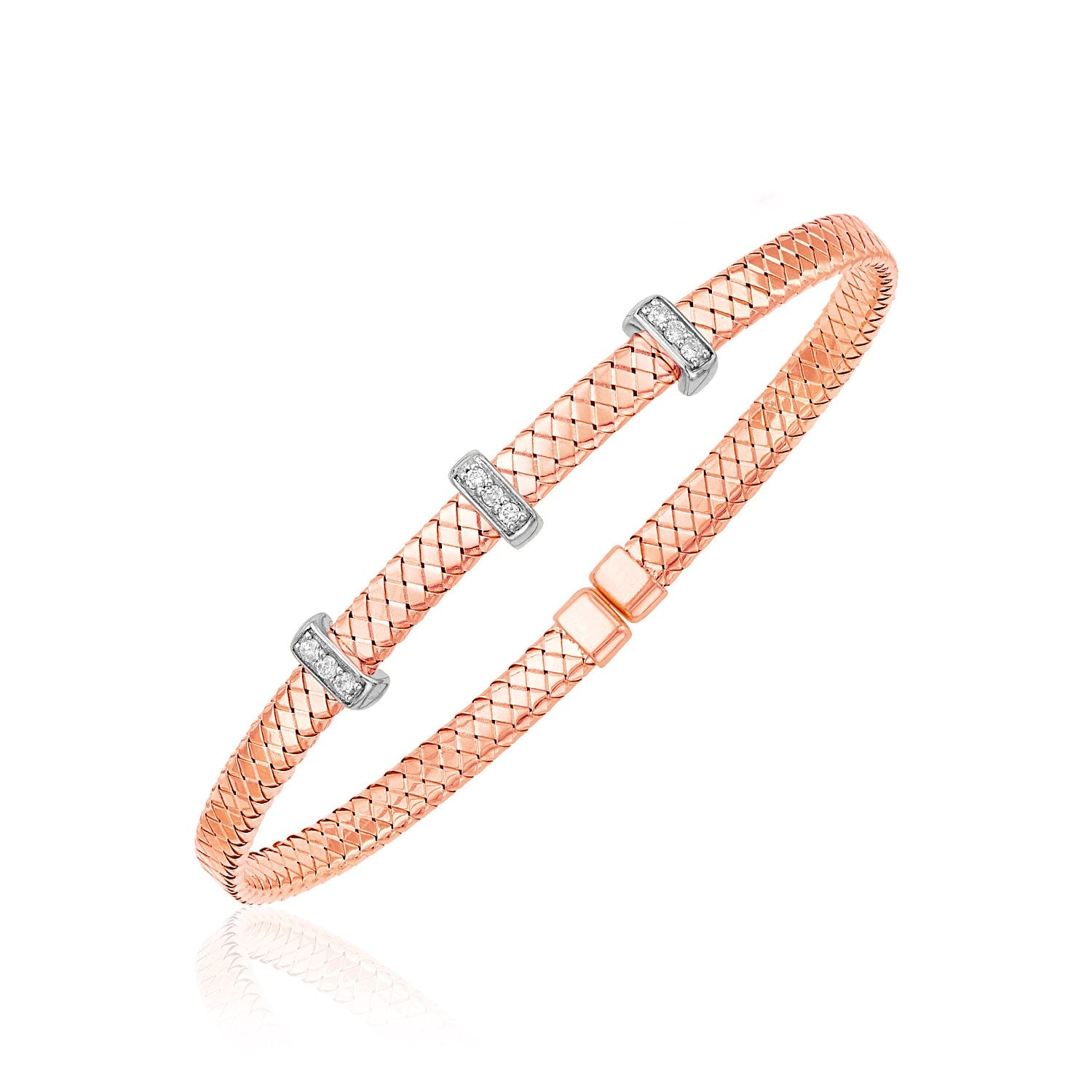 14k Two Tone Gold Narrow Basket Weave Bangle with Diamonds