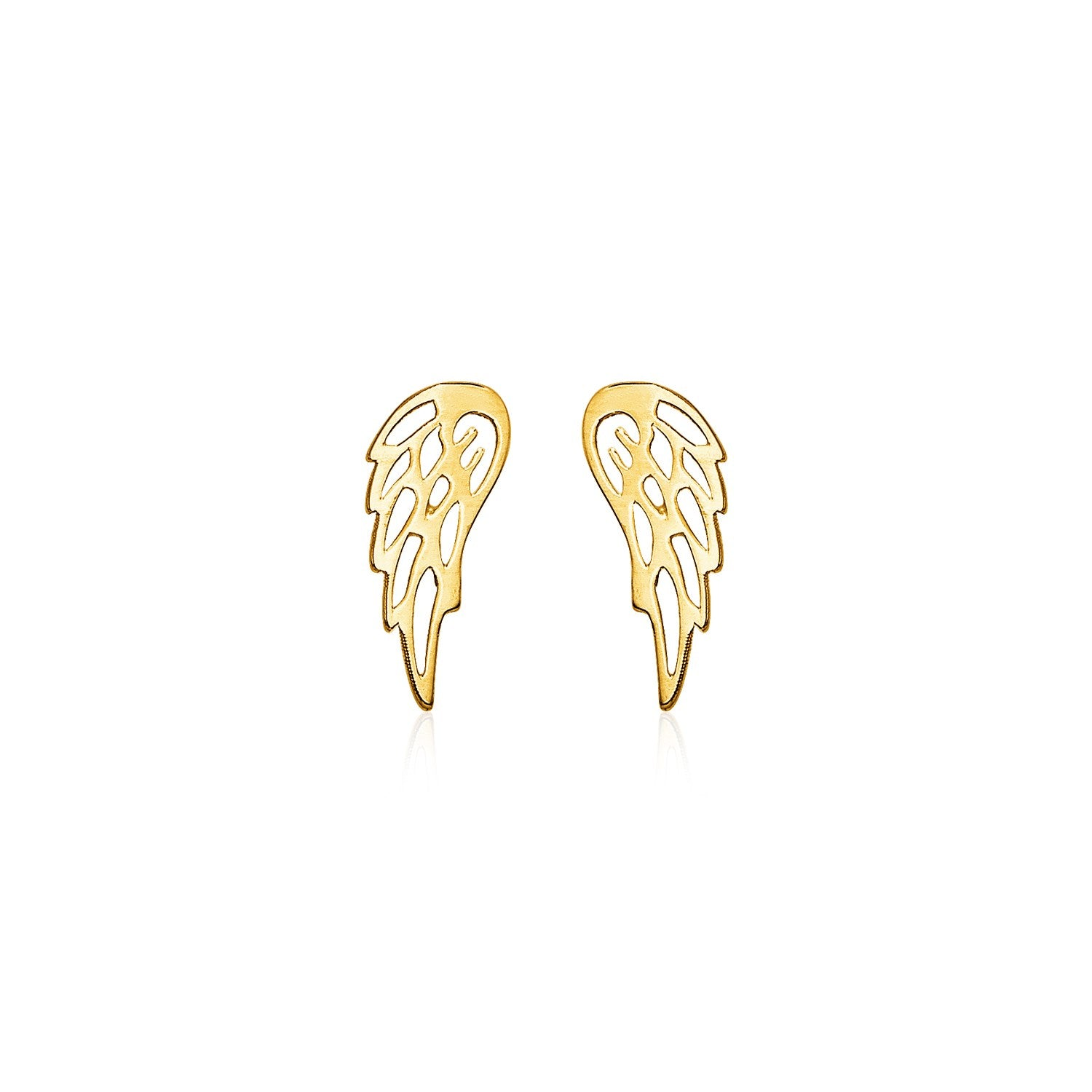 14k Yellow Gold Polished Wing Post Earrings