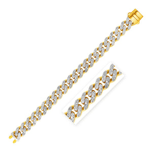 14k Two Tone Gold Curb Chain Bracelet with Diamond Pave Links