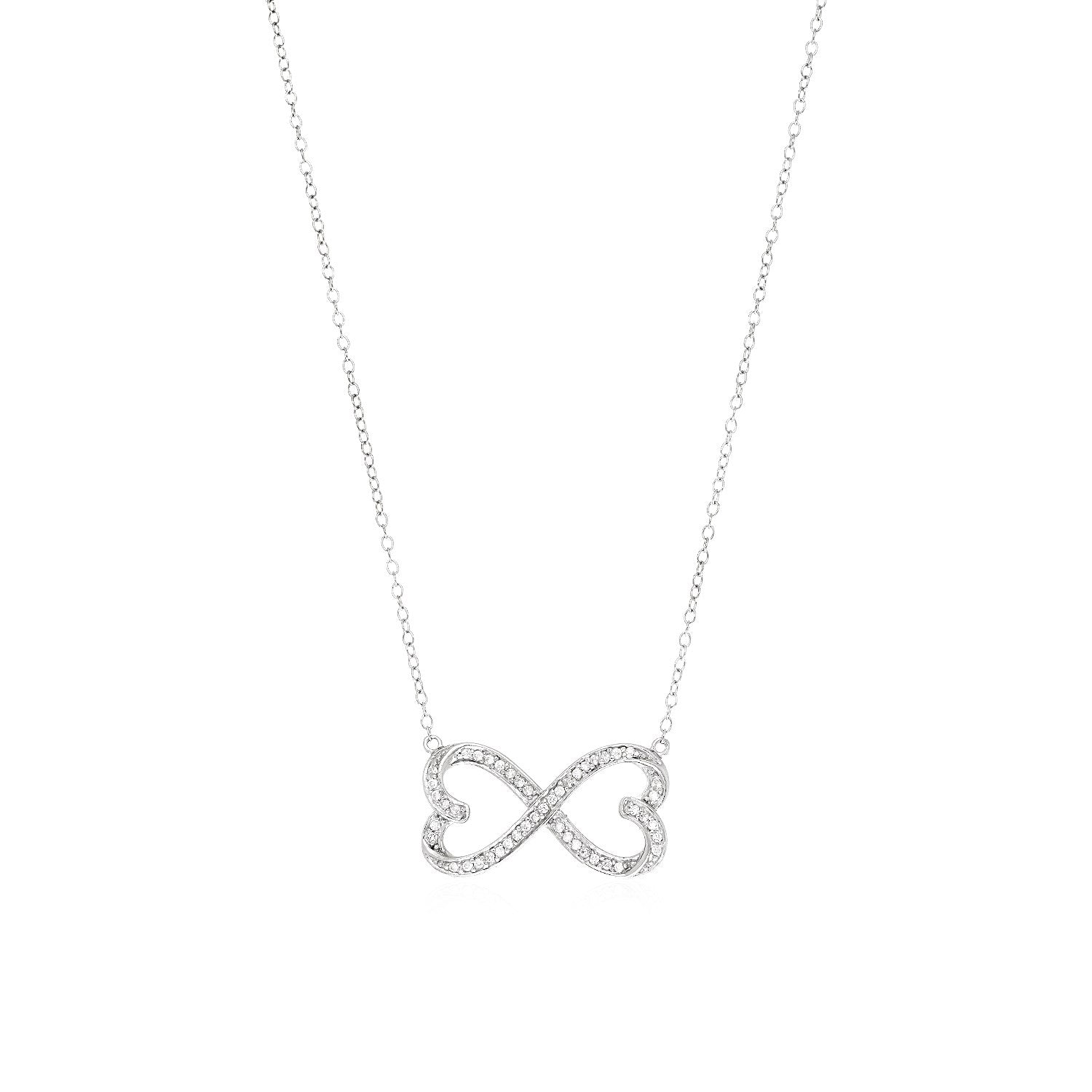 Double Heart Infinity Necklace with Cubic Zirconia in Sterling Silver