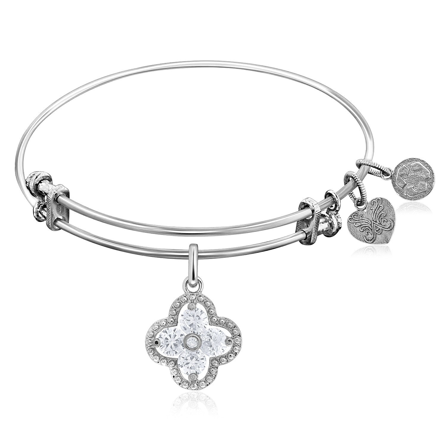 Expandable White Tone Brass Bangle with Clover Shaped Cubic Zirconia