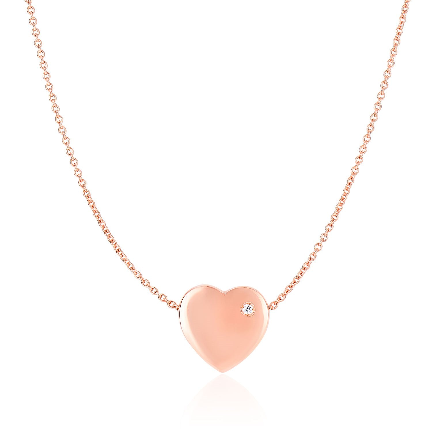 14k Rose Gold Necklace with a Diamond Embellished Flat Heart Design