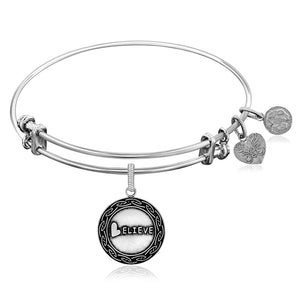 Expandable White Tone Brass Bangle with Believe Symbol