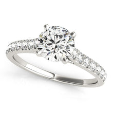Load image into Gallery viewer, 14k White Gold Single Row Band Diamond Engagement Ring (1 1/3 cttw)
