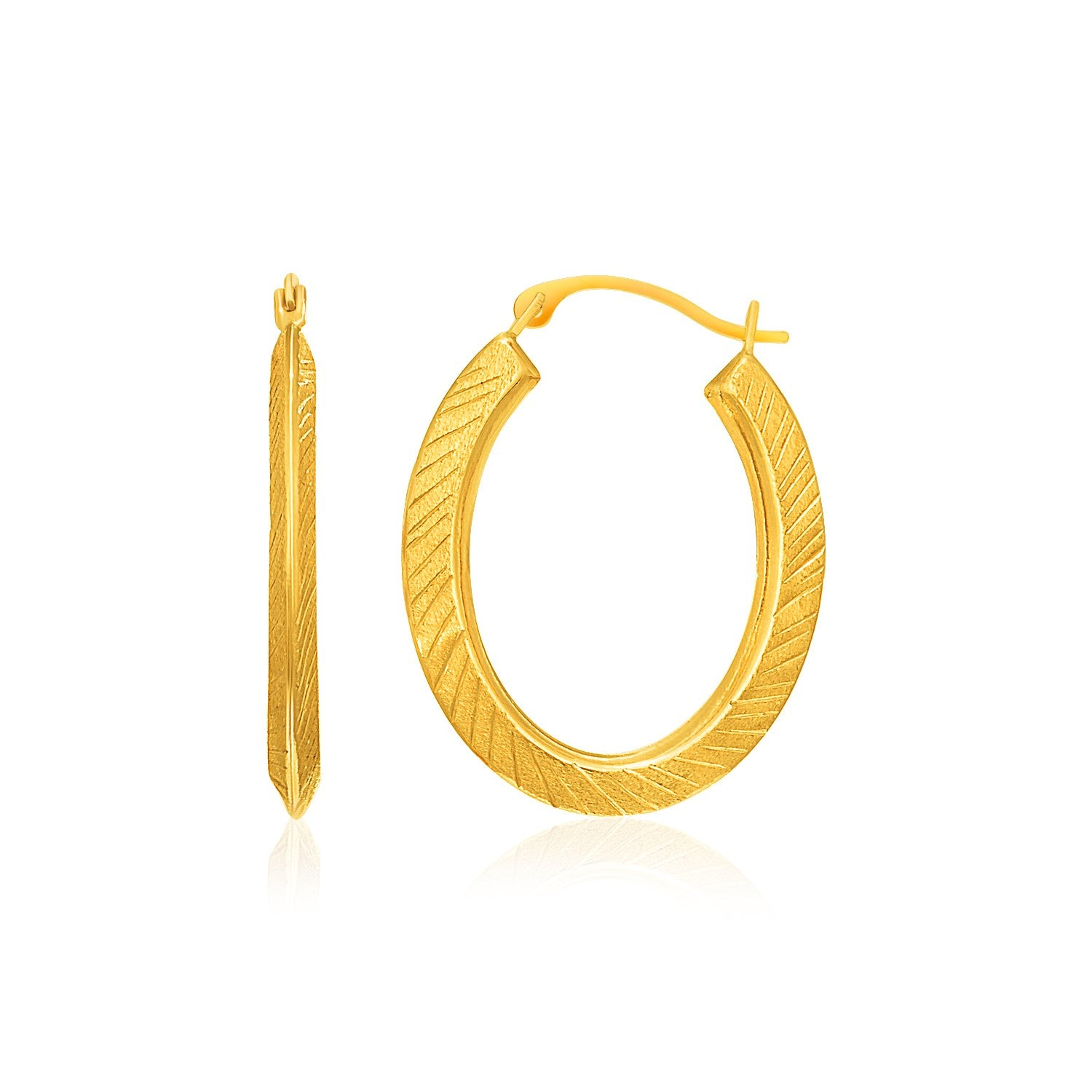 10k Yellow Gold Oval Line Texture Hoop Earrings