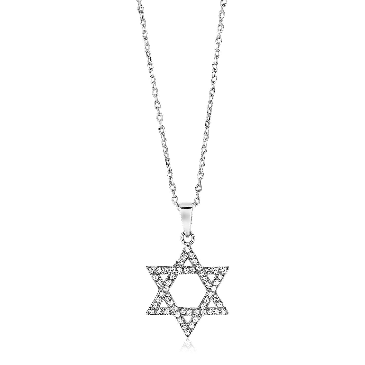 Sterling Silver Star of David Necklace with Cubic Zirconias