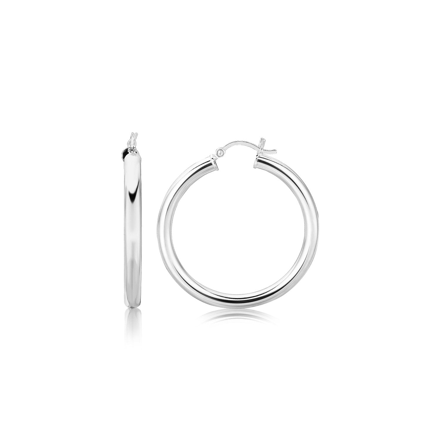 Sterling Silver Thick Rhodium Plated Polished Hoop Style Earrings (35mm)