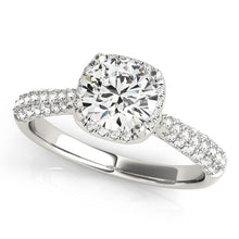 Load image into Gallery viewer, 14k White Gold Halo Graduated Pave Shank Diamond Engagement Ring (1 1/3 cttw)