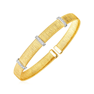 14k Two Tone Gold Two Toned Silk Textured Cuff Bangle with Diamonds