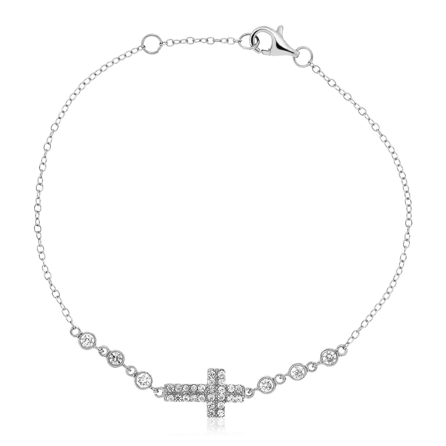 Sterling Silver Cross Bracelet with Cubic Zirconias