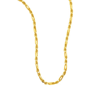 14k Yellow Gold Heavy Figaro Chain Necklace