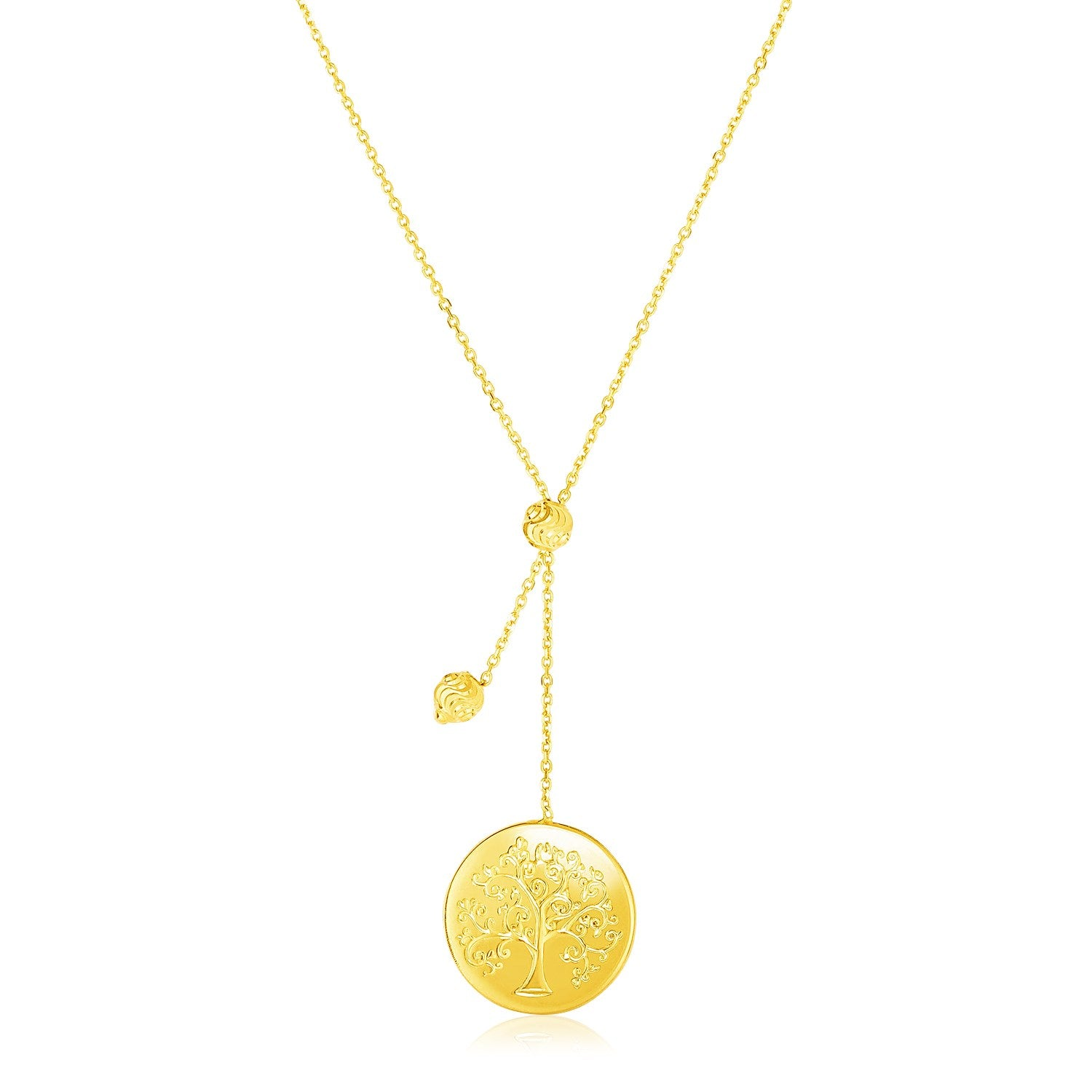 14k Yellow Gold Lariat Style Necklace with Tree of Life Pendant