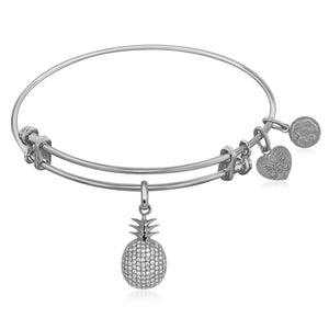 Expandable White Tone Brass Bangle with Pineapple Symbol with Cubic Zirconia