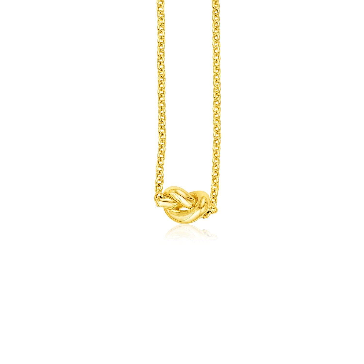 14k Yellow Gold Chain Necklace with Polished Knot