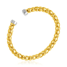 Load image into Gallery viewer, 14k Yellow and White Gold Spherical Link Cuff Bangle