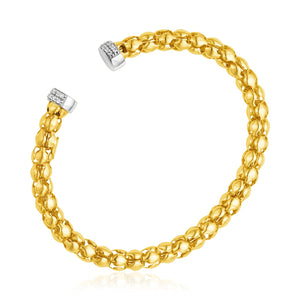 14k Yellow and White Gold Spherical Link Cuff Bangle