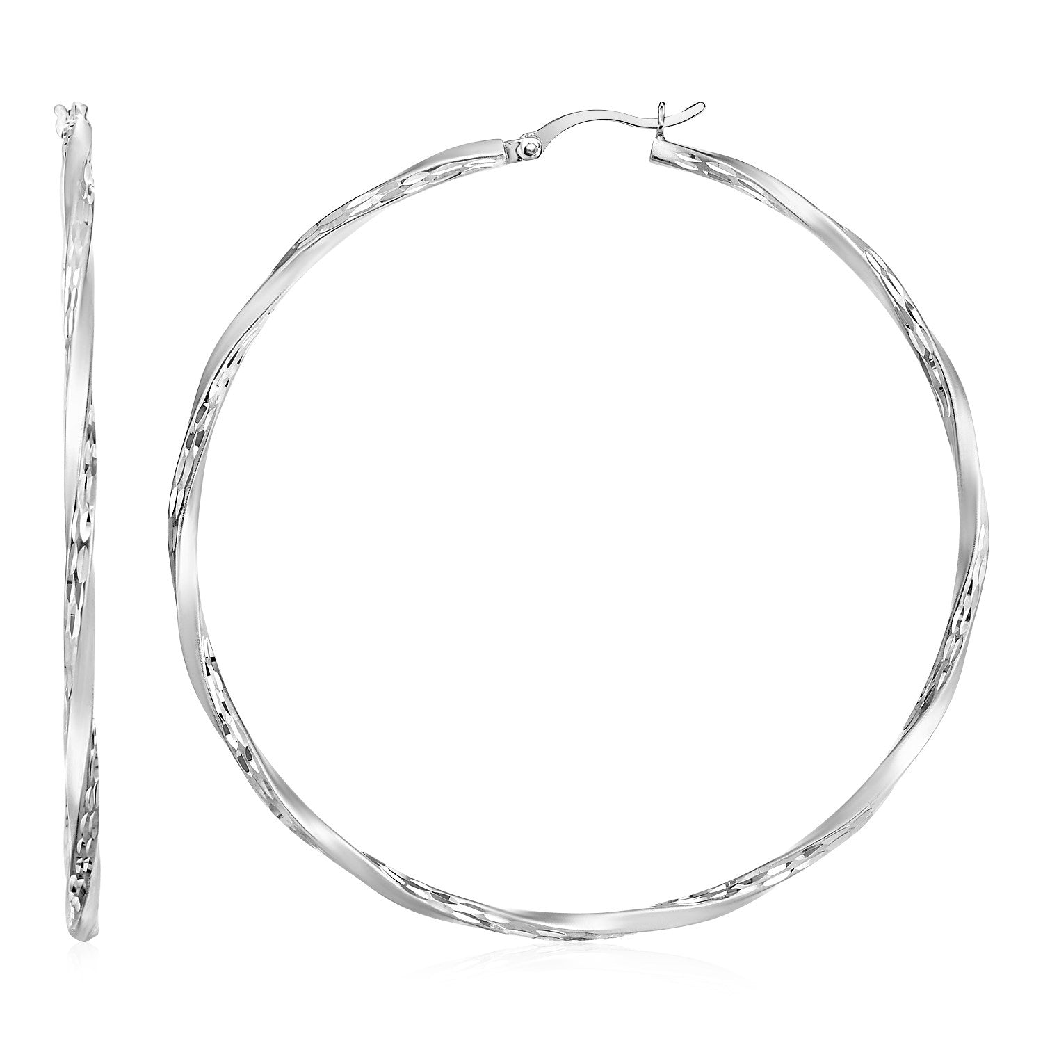 Matte and Textured Twisted Hoop Earrings in Sterling Silver
